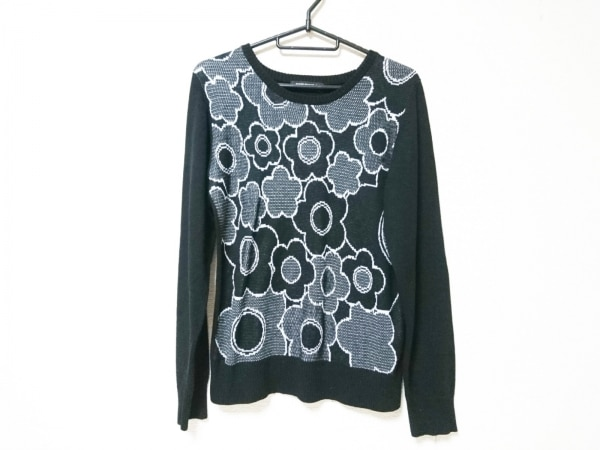 MARY QUANT(マリークワント) 長袖セーター サイズM レディース 黒×白 花柄