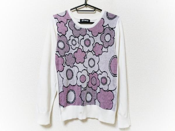 MARY QUANT(マリークワント) 長袖セーター サイズM レディース 白×黒×ピンク 花柄