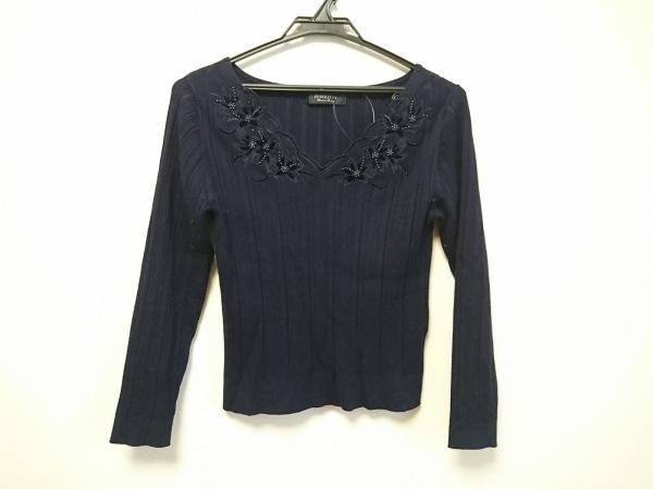 ジャスグリッティー 長袖セーター サイズ2 M レディース美品  ネイビー ビーズ