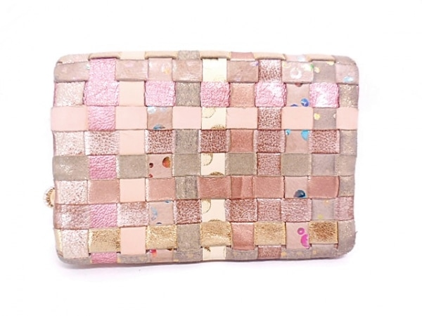 ツモリチサトキャリー 2つ折り財布 ピンク×ベージュ×ゴールド 編み込み レザー