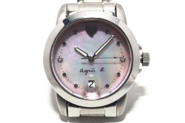 アニエスベー 腕時計 7N82-0BM0 レディース シェル文字盤/ハート/ラインストーン