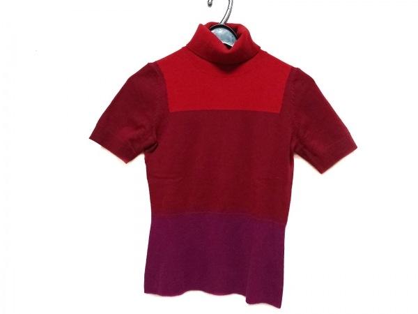 PAULEKA(ポールカ) 半袖セーター サイズM レディース レッド×ピンク タートルネック