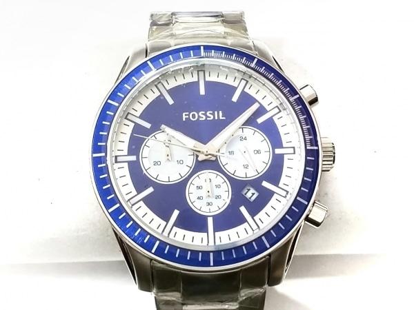 FOSSIL(フォッシル) 腕時計美品  BQ1257 メンズ クロノグラフ ブルー×シルバー