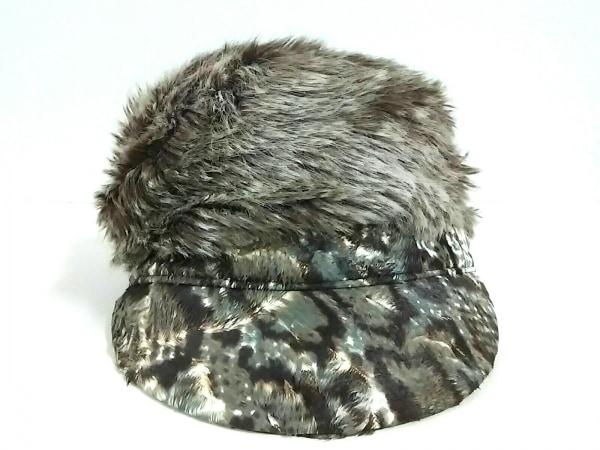 ミサハラダ 帽子 ダークブラウン×白×ライトグレー アクリル×コットン×化学繊維