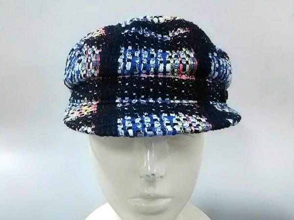 CHANEL(シャネル) 帽子 57 黒×ブルー×マルチ ツイード/チェック柄/キャスケット