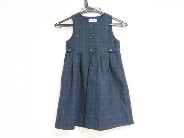 ミキハウス ワンピース サイズ110 レディース 黒×ブルー×カーキ 子供服/チェック柄