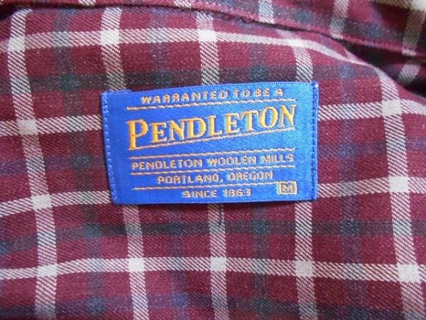ペンドルトン 長袖シャツ サイズM メンズ美品  ボルドー×白×ダークグレー