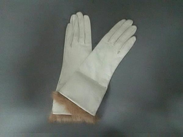 グローブス 手袋 7 レディース美品  アイボリー×ベージュ レザー×シルク×ラビット