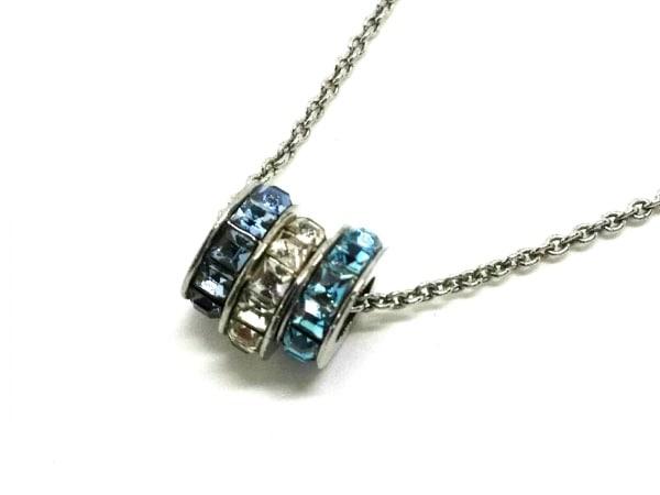 グロッセ ネックレス 金属素材×ラインストーン シルバー×ライトブルー×マルチ
