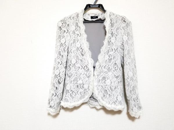 NINE(ナイン) ジャケット サイズ0 XS レディース美品  白×ライトグレー レース/花柄
