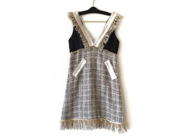 Chesty(チェスティ) ドレス サイズ1 S レディース 黒×アイボリー×ゴールド ツイード