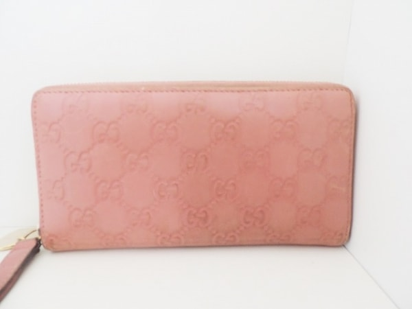 GUCCI(グッチ) 長財布 シマライン 245914 ピンク ラウンドファスナー レザー