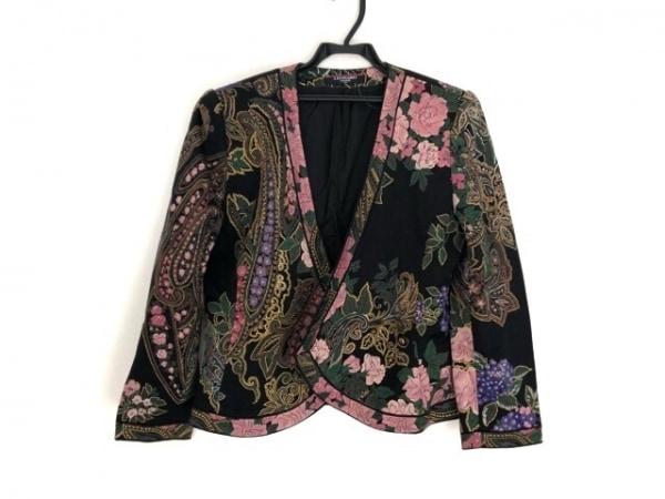 レオナール ジャケット サイズ11AR M レディース 黒×ピンク×マルチ 肩パッド/花柄