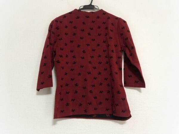 HIROKO BIS(ヒロコビス) 七分袖セーター サイズM レディース美品  レッド×黒 蝶