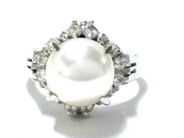 ノーブランド リング美品  Pt900×パール×ダイヤモンド クリア×ホワイト