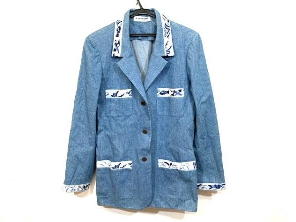 LEONARD(レオナール) ジャケット サイズ42 L レディース ブルー×白 デニム