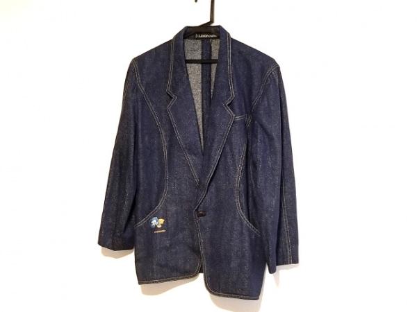 レオナール ジャケット サイズ13 L レディース ネイビー×ベージュ×ライトブルー