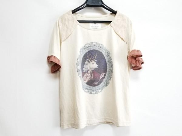 bortsprungt.(ボシュプルメット) 半袖Tシャツ レディース ベージュ×ブラウン×マルチ