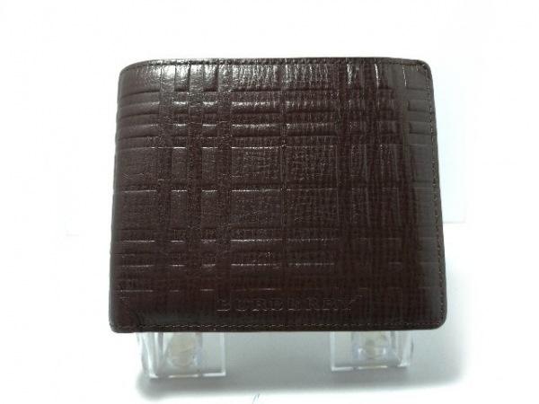 Burberry(バーバリー) 2つ折り財布 ダークブラウン 型押し加工 レザー