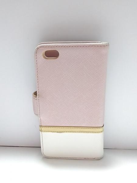サマンサタバサプチチョイス 携帯電話ケース ピンクベージュ×白 合皮