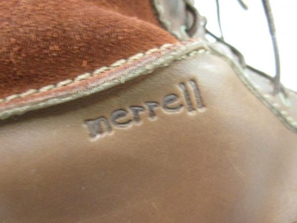 MERRELL(メレル) ショートブーツ レディース ブラウン×アイボリー×黒 ファー
