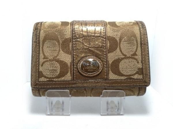 COACH(コーチ) 2つ折り財布 シグネチャー柄 カーキ×ライトブラウン 型押し加工