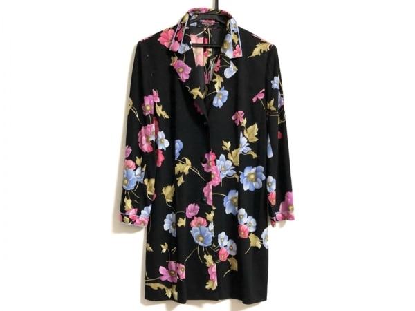 レオナール 長袖シャツブラウス サイズL レディース美品  黒×ピンク×マルチ 花柄