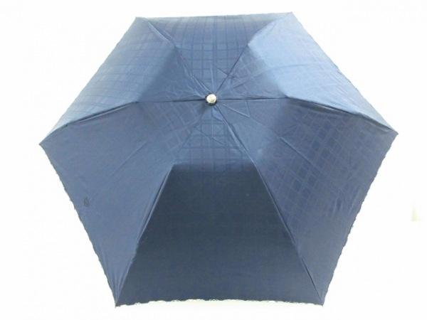 ニューヨーカー 折りたたみ傘美品  ダークネイビー×アイボリー×マルチ チェック柄