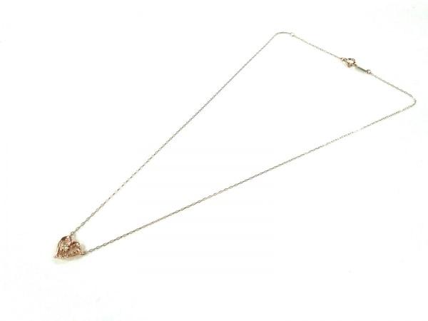4℃(ヨンドシー) ネックレス美品  K10×ダイヤモンド ハート