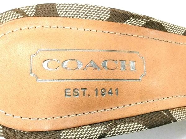 COACH(コーチ) ミュール 7 B レディース美品  シグネチャー柄 カーキ×ベージュ