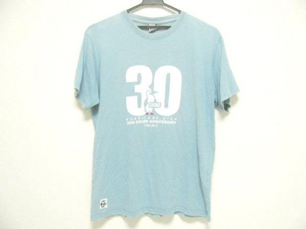 CHUMS(チャムス) 半袖Tシャツ サイズL メンズ ライトブルー×アイボリー×レッド