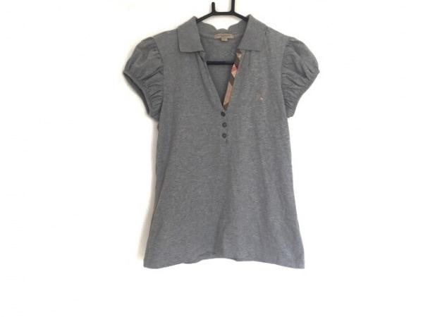 バーバリーブリット 半袖ポロシャツ サイズM レディース グレー×マルチ