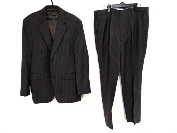ErmenegildoZegna(ゼニア) シングルスーツ メンズ グレー ストライプ/ネーム刺繍