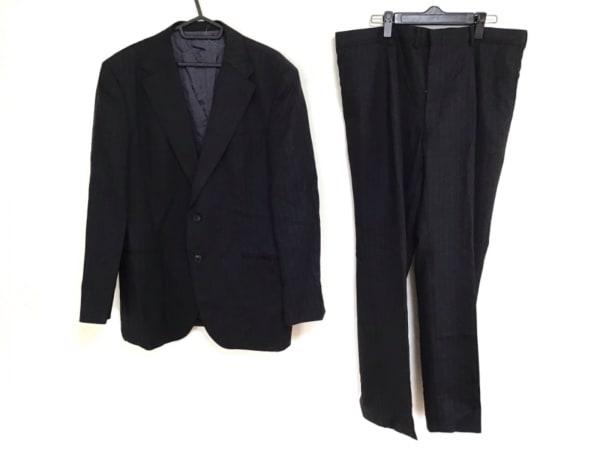 DORMEUIL(ドーメル) シングルスーツ メンズ 黒×ネイビー EPSOM/ストライプ