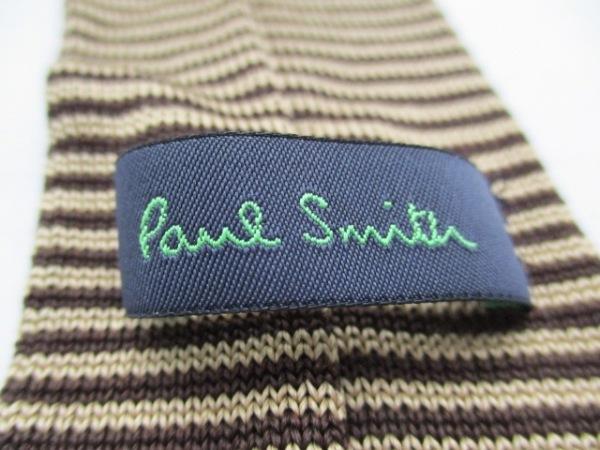 PaulSmith(ポールスミス) ネクタイ メンズ美品  ベージュ×ダークブラウン ボーダー