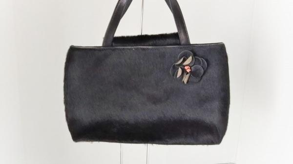 Kate spade(ケイトスペード) ハンドバッグ美品  黒 フラワー ハラコ