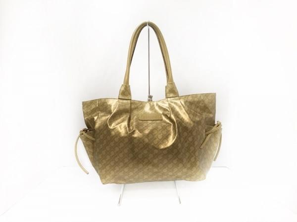 ゲラルディーニ トートバッグ美品  ゴールド リボン PVC(塩化ビニール)×レザー