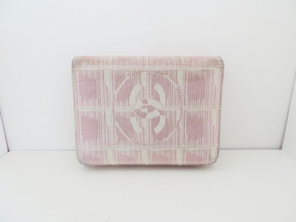 CHANEL(シャネル) 3つ折り財布 ニュートラベルライン ベージュ×ピンク ジャガード