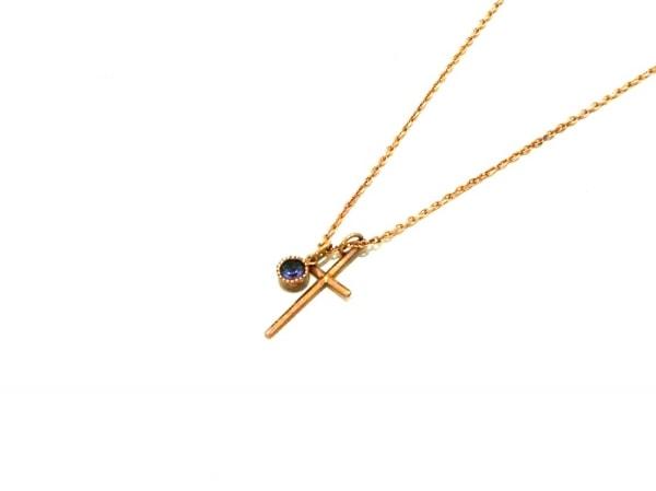 MURUA(ムルーア) ネックレス美品  K18YG×K10×ガーネット パープル クロス