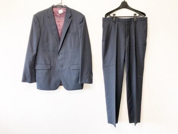 ムッシュニコル シングルスーツ サイズ52 メンズ 黒×ネイビー ストライプ