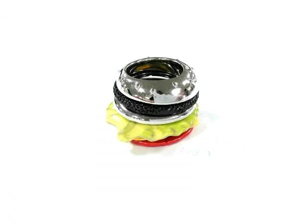 Q-pot.(キューポット) リング美品  金属素材 シルバー×レッド×マルチ ハンバーガー