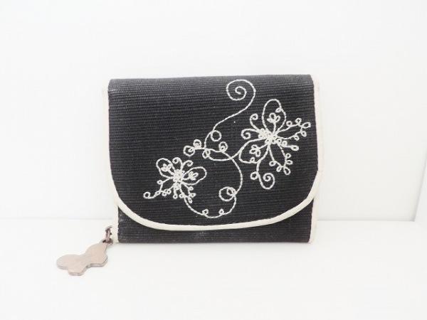 ANNA SUI(アナスイ) 3つ折り財布 黒×白 刺繍/蝶 ジャガード×レザー