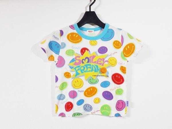 ミニK 半袖Tシャツ サイズ130 レディース新品同様  白×ライトブルー×マルチ 子供服
