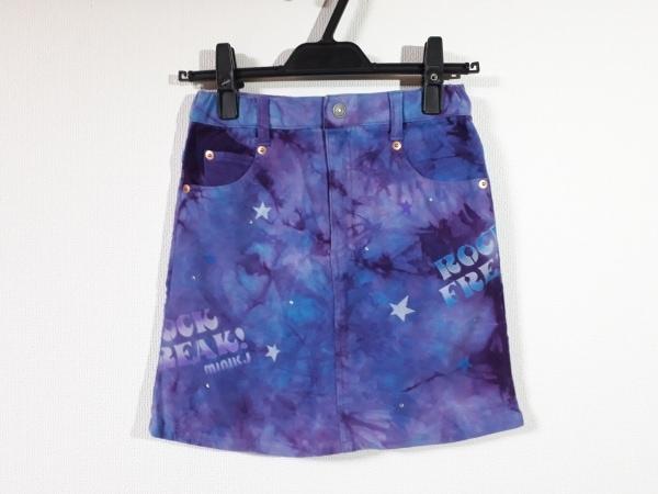 MINI-K(ミニK) スカート サイズ140 レディース新品同様  パープル×ライトブルー×白