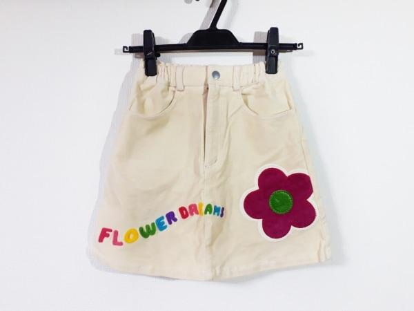 ミニK スカート サイズ140 レディース新品同様  アイボリー×マルチ フラワー/子供服