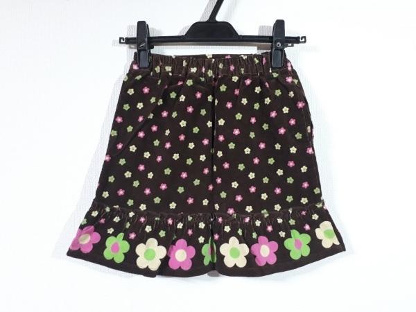 ミニK スカート サイズ140 レディース新品同様  ダークブラウン×ピンク×マルチ