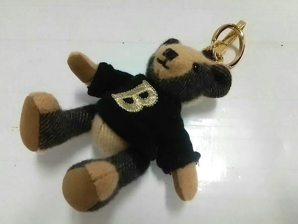 Burberry(バーバリー) キーホルダー(チャーム) ベージュ×黒 クマ/チェック柄/刺繍