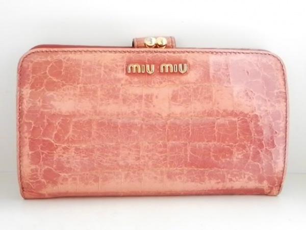 miumiu(ミュウミュウ) 長財布 - ピンク がま口/型押し加工 レザー