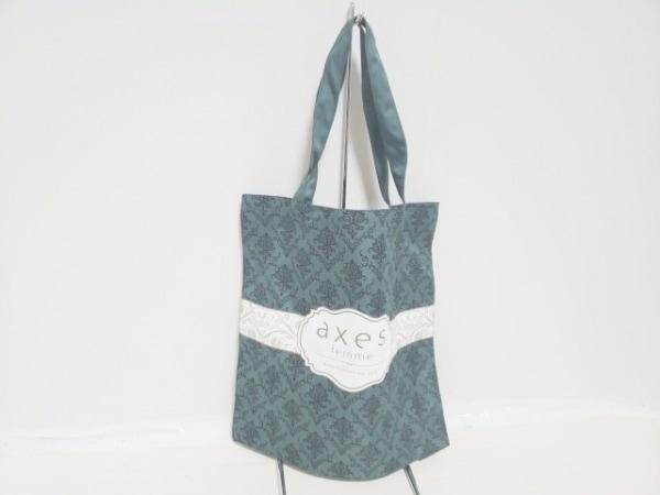 axes femme(アクシーズファム) トートバッグ ダークグリーン×白×グレー 化学繊維