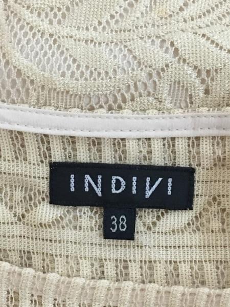 INDIVI(インディビ) ワンピース サイズ38 M レディース ベージュ レース/フリンジ